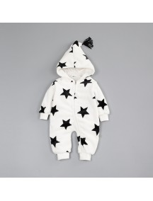 KA0107W - Winter Jacket Bayi White Star Fleece Romper