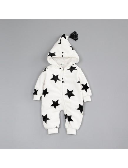 KA0107W - Winter Jacket Bayi White Star Fleece Romper