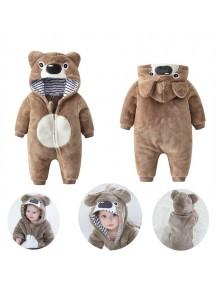 KA0108W - Winter Jacket Bayi Brown Bear Fleece Romper