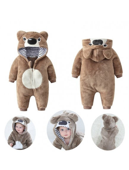 KA0108W - Winter Jacket Bayi Brown Bear Fleece Romper
