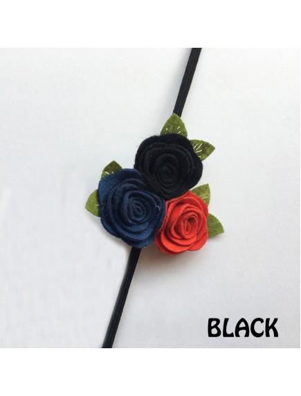 KA0110W - Aksesoris Bando Bayi Felt Rose Triple Baby Headband