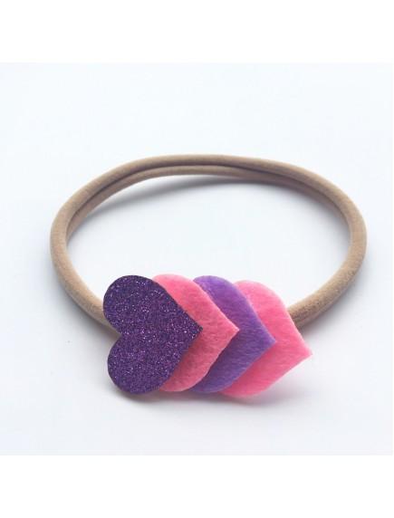 KA0112W - Aksesoris Bando Bayi Nylon Glitter Heart Baby Headband