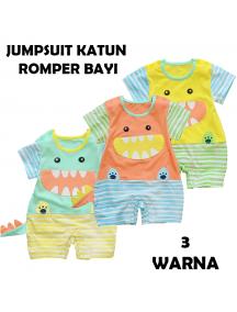 KA0136W - Baju Anak Bayi Jumper Romper Dino Set Pendek (6-12 bln)