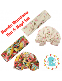KA0140W - Aksesoris Bando Bandana Turban Matching Ibu & Bayi Flower Set 2in1
