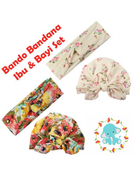 KA0140W - Aksesoris Bando Bandana Turban Matching Ibu & Bayi Flower Set 2in1