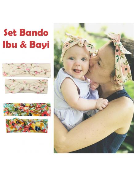 KA0141W - Aksesoris Bando Bandana Matching Ibu & Bayi Flower Set 2in1