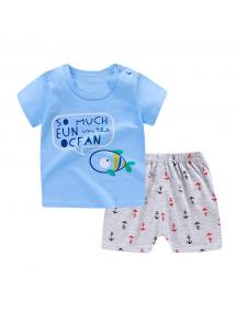KA0146W - Baju Anak Bayi Summer Sailor T-Shirt Set Celana Pendek