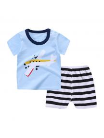 KA0147W - Baju Anak Bayi Summer Pilot T-Shirt Set Celana Pendek