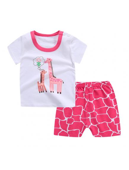 KA0149W - Baju Anak Bayi Pink Giraffe T-Shirt Set Celana Pendek