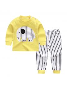 KA0157W - Baju Anak Bayi Piyama Yellow Elephant Set Celana Panjang