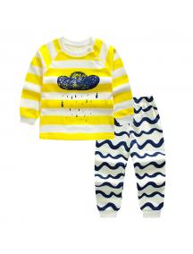 KA0159W - Baju Anak Bayi Piyama Yellow Stripe Set Celana Panjang