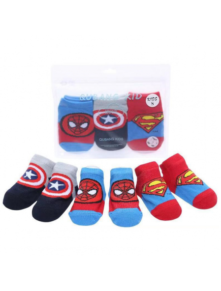 KA0162 - Kaus Kaki Bayi Anti Slip Spiderman Set 3 Pasang