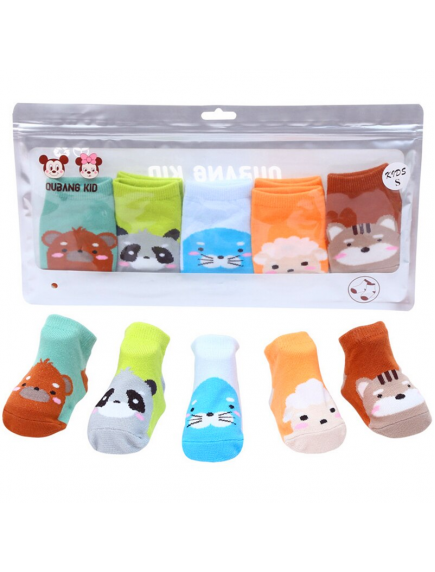 KA0163 - Kaus Kaki Bayi Anti Slip Socks Animal Set 5 Pasang