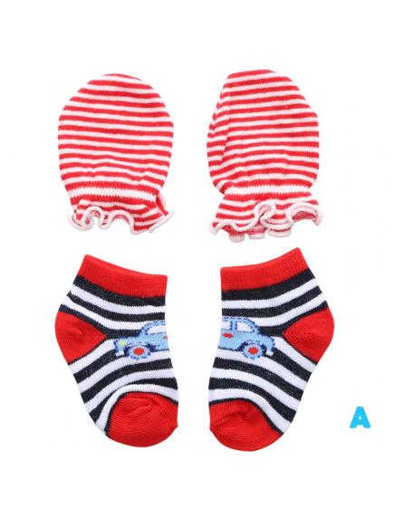 KA0165W - Kaus Kaki Sarung Tangan Bayi Laki-Laki Newborn Set
