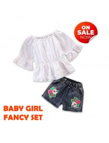 KA0173W - Baju Anak Perempuan White Blouse + Flower Jeans Set