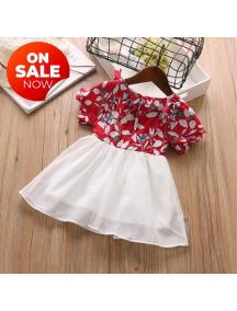 KA0175W - Baju Anak Perempuan Setelan Flower Dress - Red