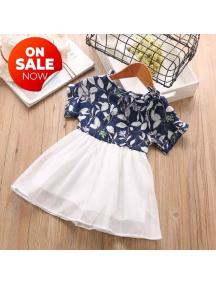 KA0176W - Baju Anak Perempuan Setelan Flower Dress - Blue