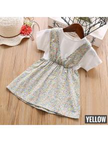 KA0177W - Baju Anak Perempuan Setelan Small Flower Dress - Yellow