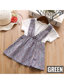 KA0178W - Baju Anak Perempuan Setelan Small Flower Dress - Green