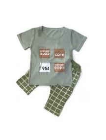 KA0061W - Baju Balita Baby Boy Dark Green Chekered Set (1-4 th)
