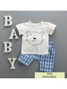 KA0063W - Baju Balita Baby Boy White Lion Set (0-24 bln)
