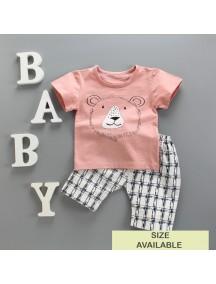 KA0064W - Baju Balita Baby Boy Salmon Pink Lion Set (0-24 bln)