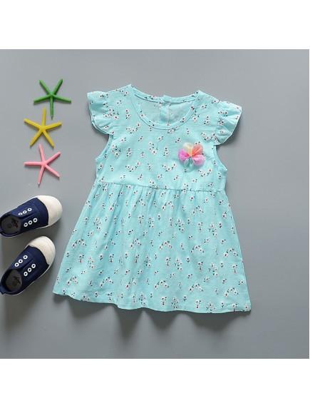 KA0069W - Baju Balita Baby Dress Summer Girl Blue (0-24 bln)