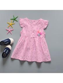 KA0070W - Baju Balita Baby Dress Summer Girl Pink (0-24 bln)