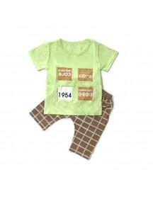 KA0071W - Baju Balita Baby Boy Green Chekered Set (1-4 th)