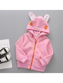 KA0080W - Children Jacket Winter/Fall Hooded Fleece Thick (Rabbit)