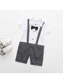 KA0081W - Short Sleeve Gentleman Strap Romper Pesta Balita (Grey)