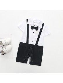 KA0082W - Short Sleeve Gentleman Strap Romper Pesta Balita (Black)