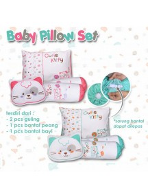KB0016W - Baby Gift Pillow Set Bantal 4 in 1 Motif Kucing