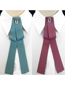 RBR1353W - Aksesoris Collar Bross Satin Bow Crystal
