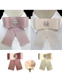 RBR1354W - Aksesoris Collar Bross Elegant Bow Diamond