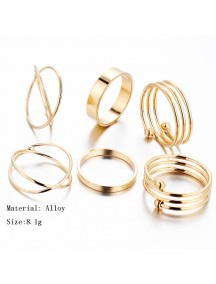 RCC1028 - Cincin Gold Retro Joint Ring 6pc/set