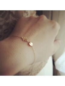 RGB1054 - Aksesoris Gelang Gold Leaf Bracelet