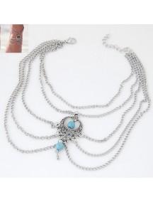 RGB1044 - Aksesoris Gelang Kaki Retro Blue Beads Ankle Bracelet