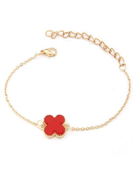 RGB1047W - Aksesoris Gelang Gold Clover Bracelet