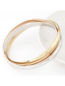 RGB4865 - Aksesoris Gelang  Three Color Gold Metal