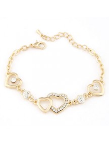 RGB4978 - Aksesoris Gelang Love Flash Diamond (Gold)