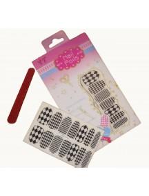 HO5030 - Nail Sticker Black And White + Kikir