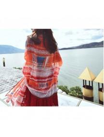 HO1382 - Syal Indian Orange Tribal