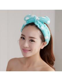 HO1453W - Handuk Wajah & Rambut Hairband Polkadot
