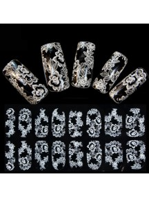 HO5127 - 3D Nail Sticker  White Lace with Diamond