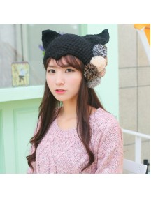 HO5304 - Topi Wool Fashion Ear Hat Demon