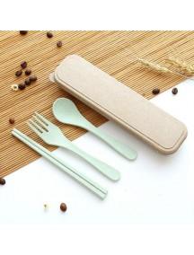 HO1538W - Portable Wheat Straw Alat Makan Set