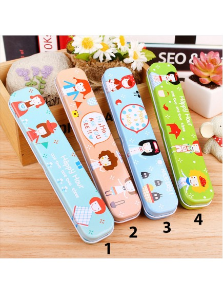 HO1598W - Kotak Pensil Kaleng Cute Happy Hour