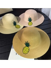 HO2522W -  Topi Pantai Sun Beach Hat Straw Pineapple