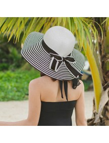 HO2523W -  Topi Pantai Sun Beach Hat Straw Stripe